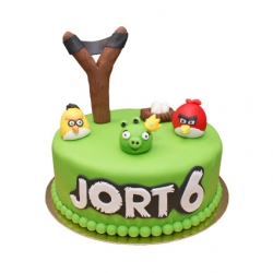 Angry Birds 3D taart (1 laag)