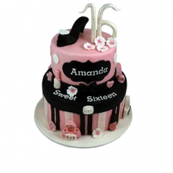 Sweet 16 (roze) 3D taart