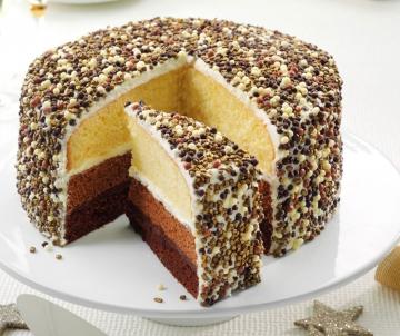 Triple chocolate sparkle cake