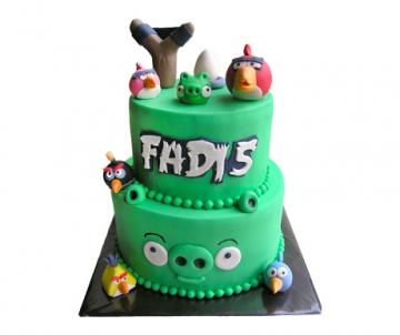 Angry Birds 3D taart (2 lagen)