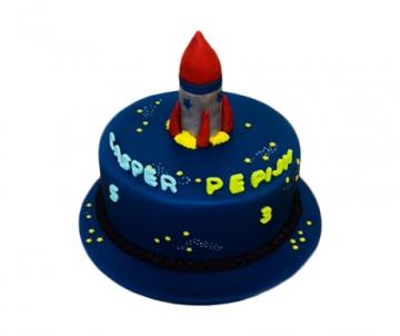 Raket 3D taart