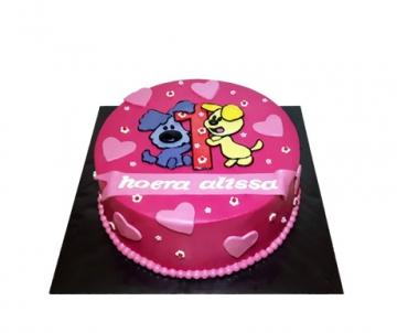 Woezel en Pip (roze) 3D taart