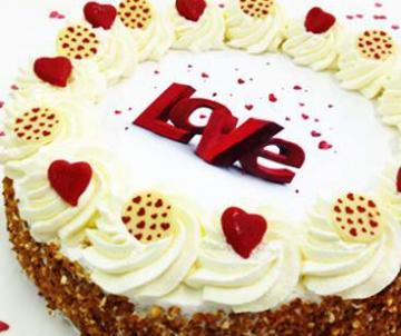 Valentijnslagroomtaart